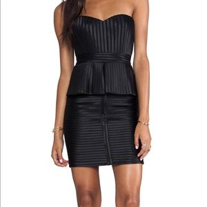 BCBG Max Azria Black karina strapless peplum dress